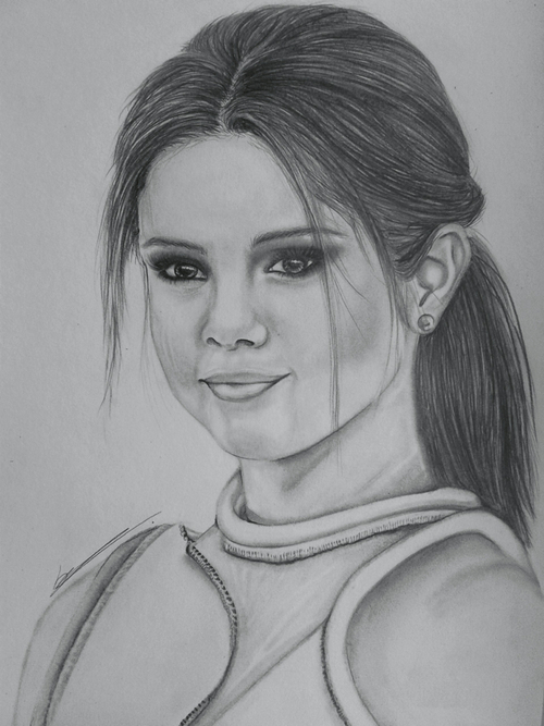 Drawn portrait selena gomez  by will Gomez Sophie