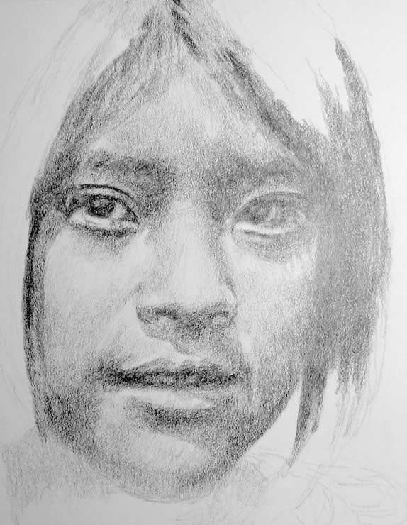 Drawn portrait shaded face As as Pencil has the