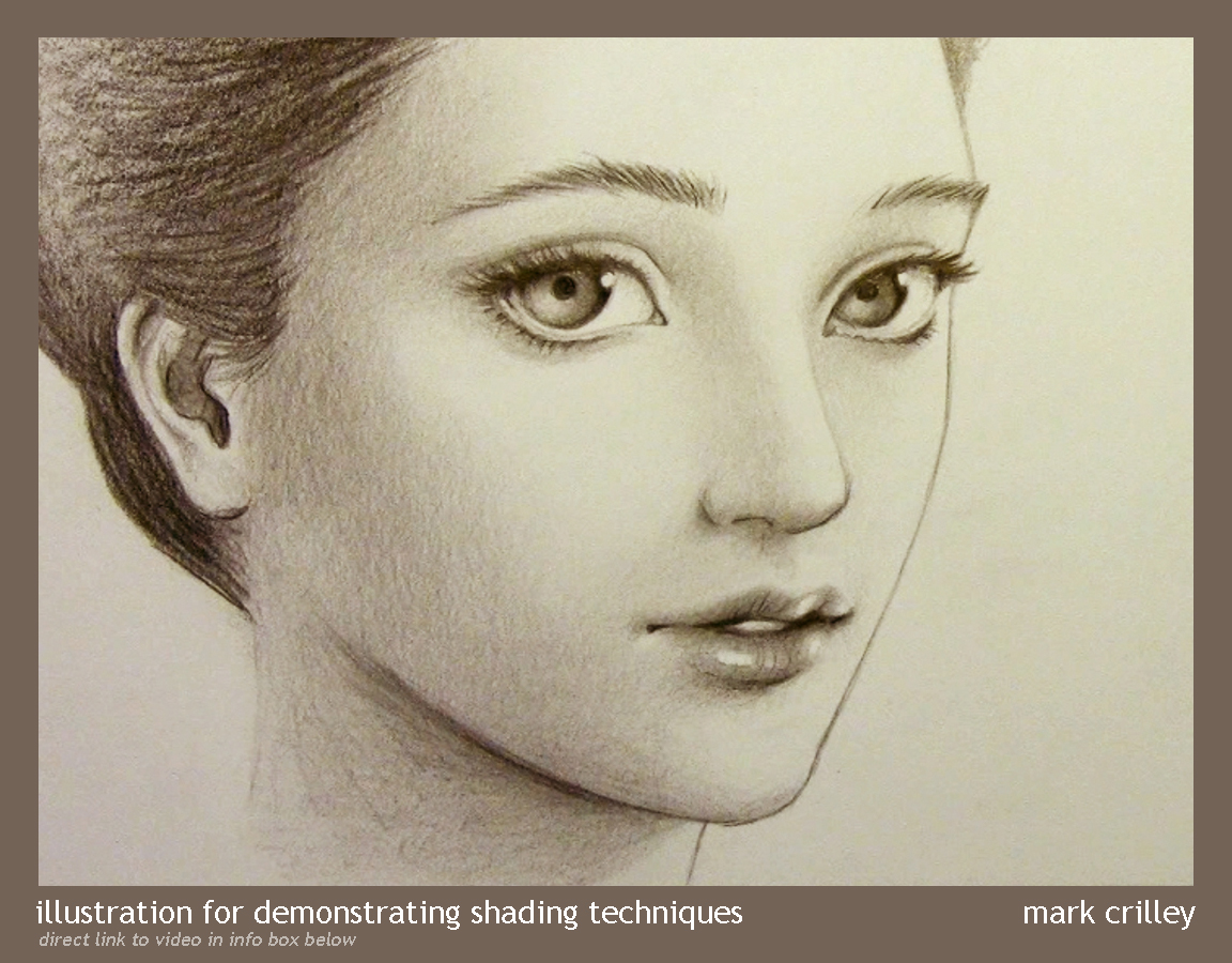 Drawn portrait shaded face Pencil Demonstration com by Shading