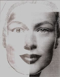 Drawn portrait shaded face Half art side half and
