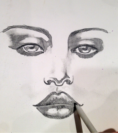 Drawn portrait shaded face Using Fabulous pencil modify you