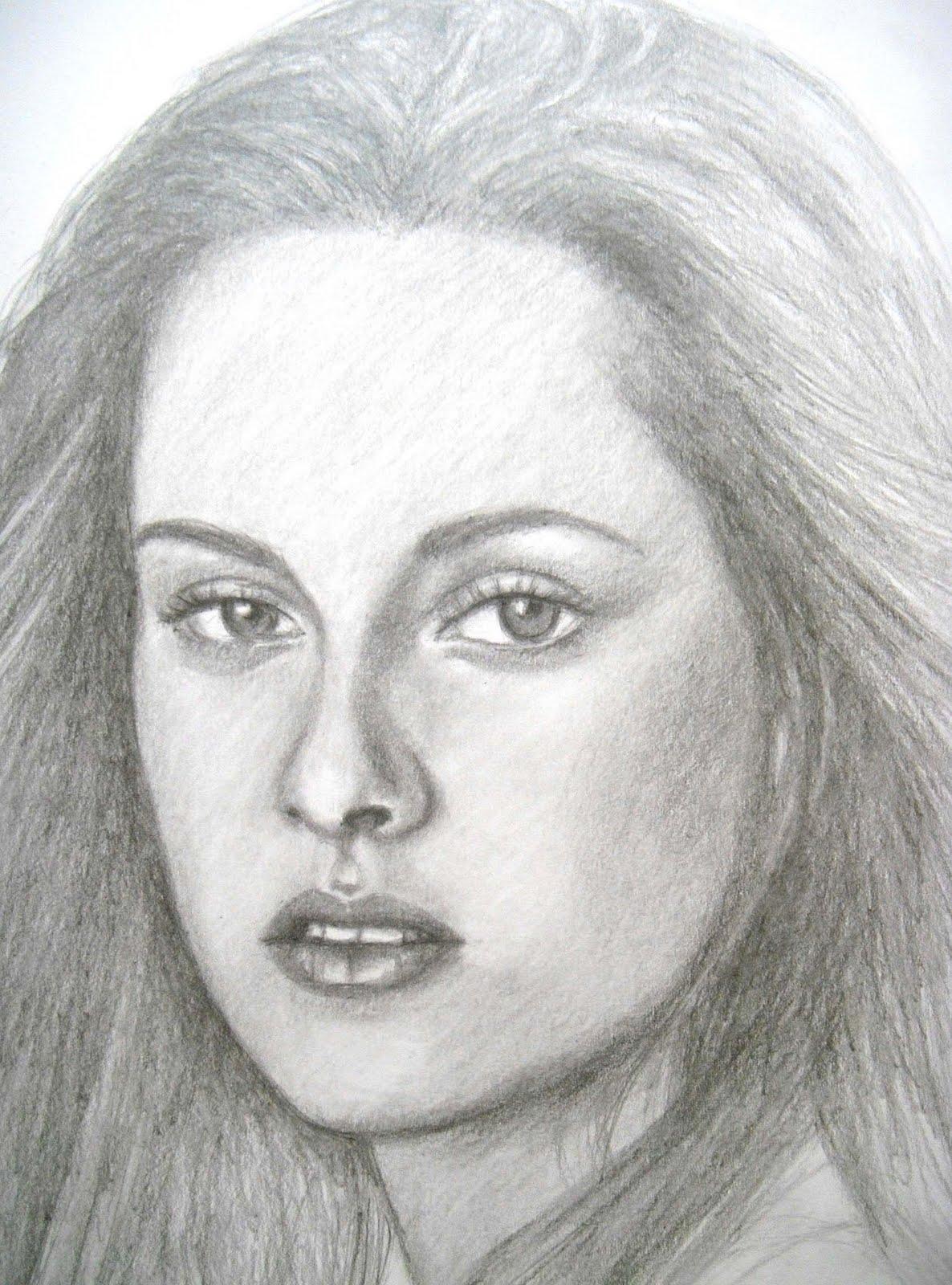 Drawn portrait shaded face Grace Progress STEWART Progress: In