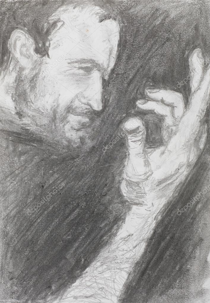 Drawn portrait side view Stock Photo — pencil technique
