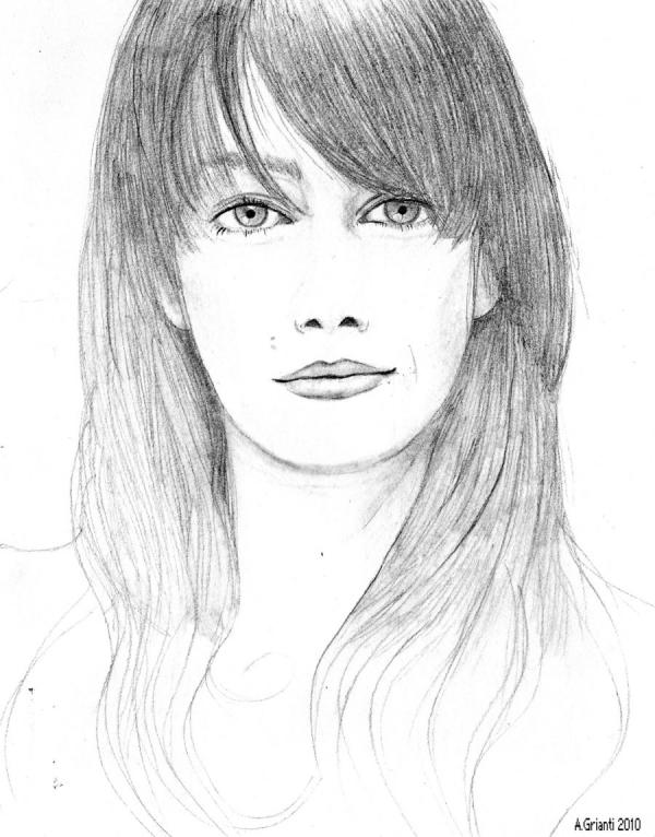 Drawn portrait simple pencil Giovanna social network your art