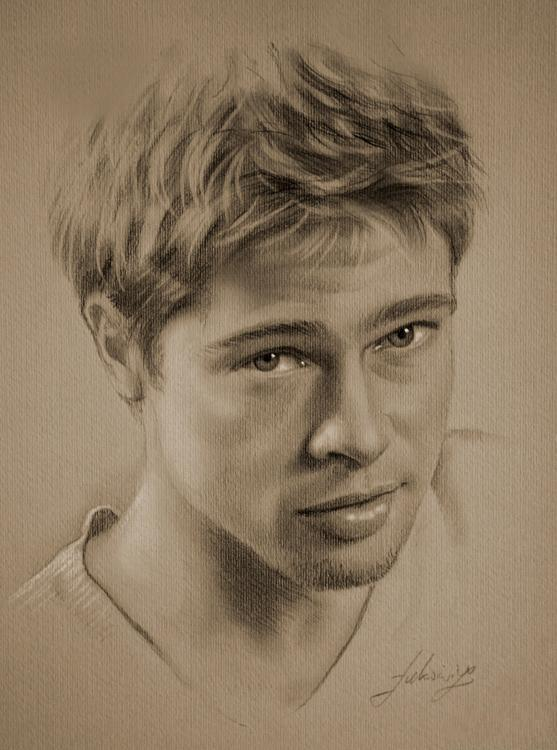 Drawn portrait sketch Portraits These Brad pitt a