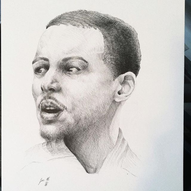 Drawn portrait stephen curry Curry on #Sketching Progress nba