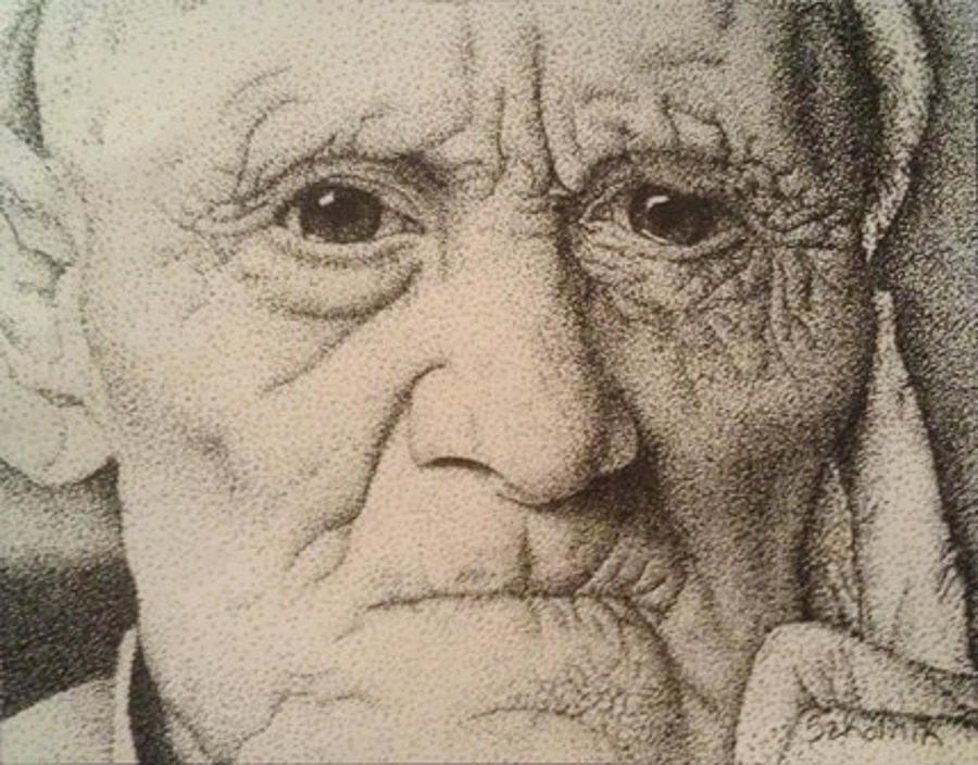 Drawn portrait stippling Of Drawing An Old Man