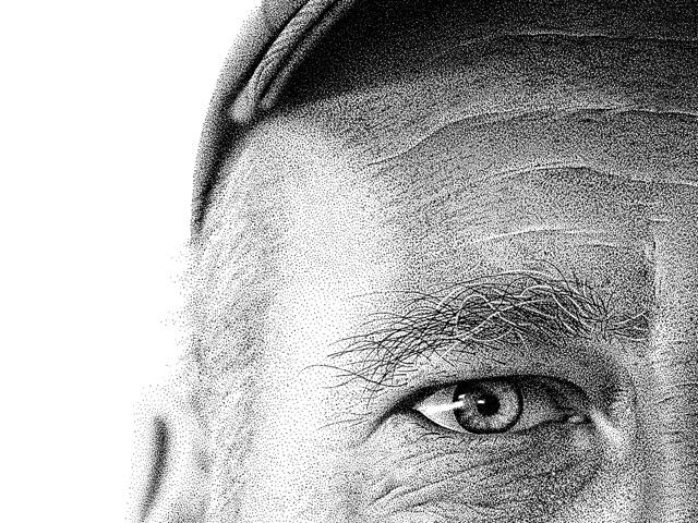 Drawn portrait stippling Ink Amnesiac Portrait Drawn by