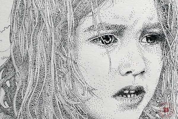 Drawn portrait stippling Sketches : Portrait Skillfully Sketches