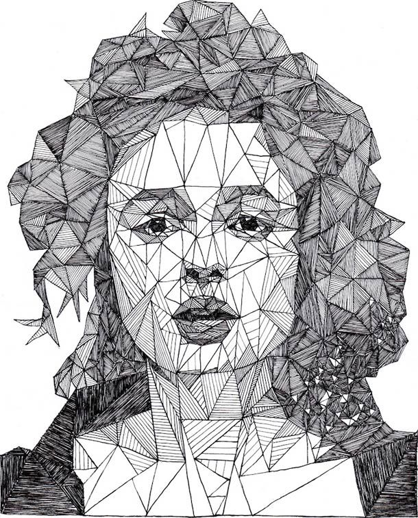 Drawn portrait straight line I Pinterest Triangulations 810 images