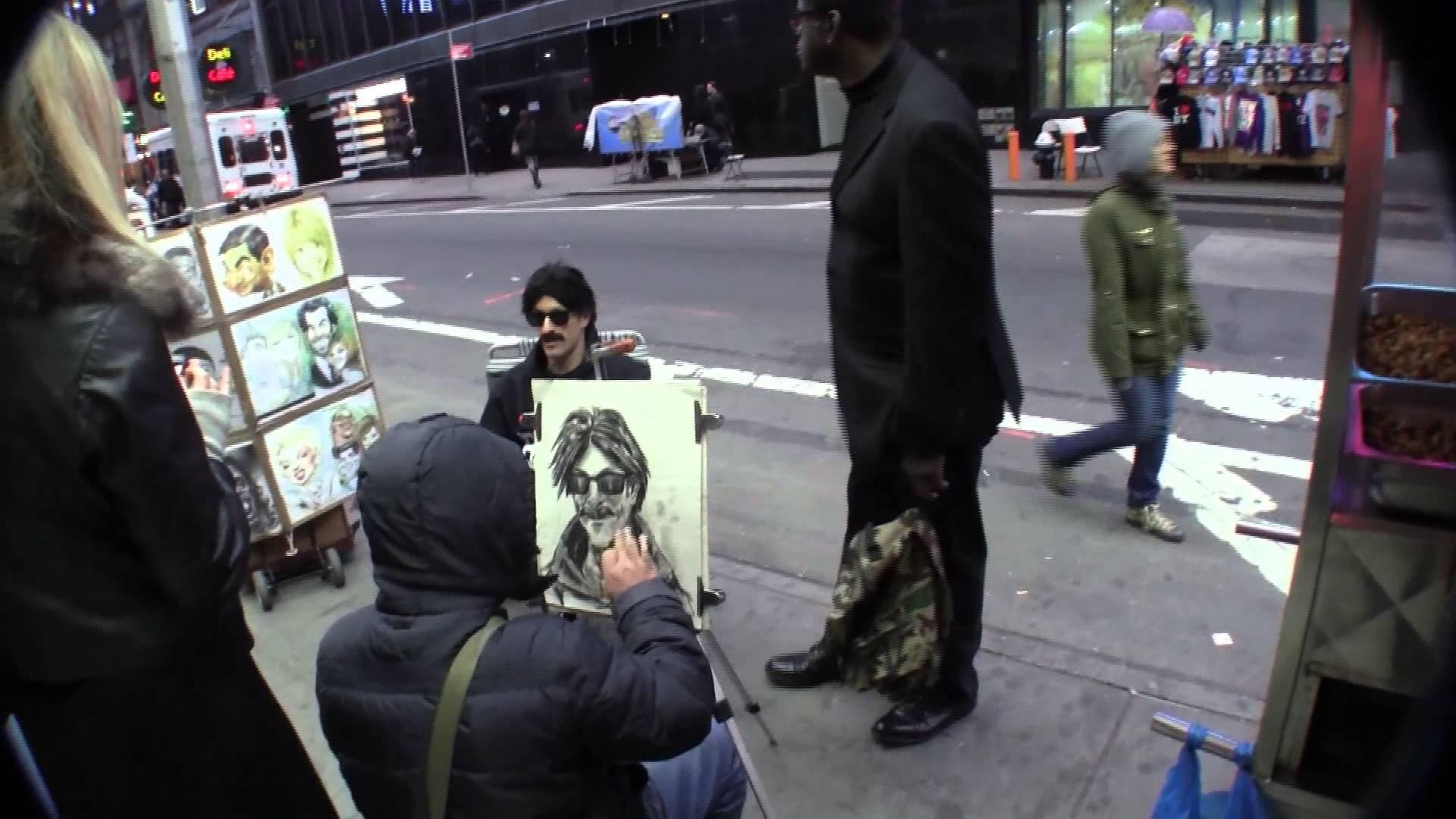Drawn portrait street YouTube drawn Banksy Square NYC