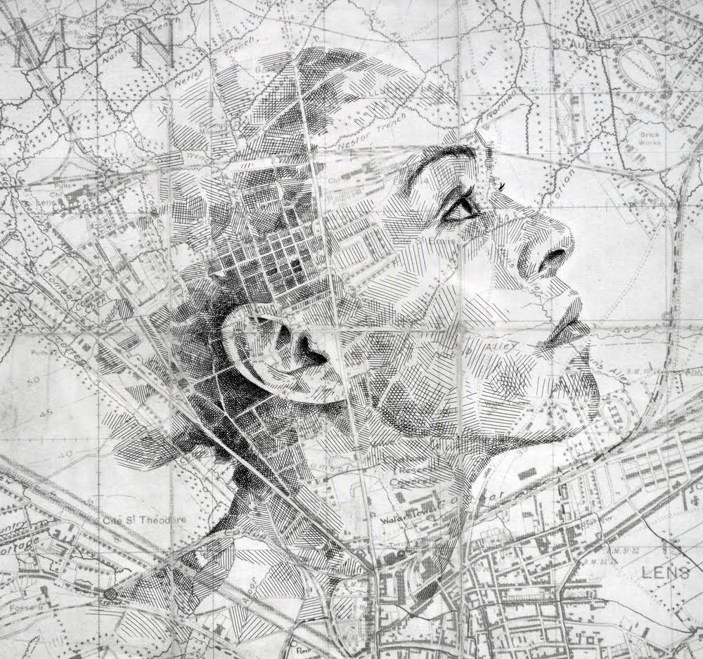 Drawn portrait street Maps and secret charts English