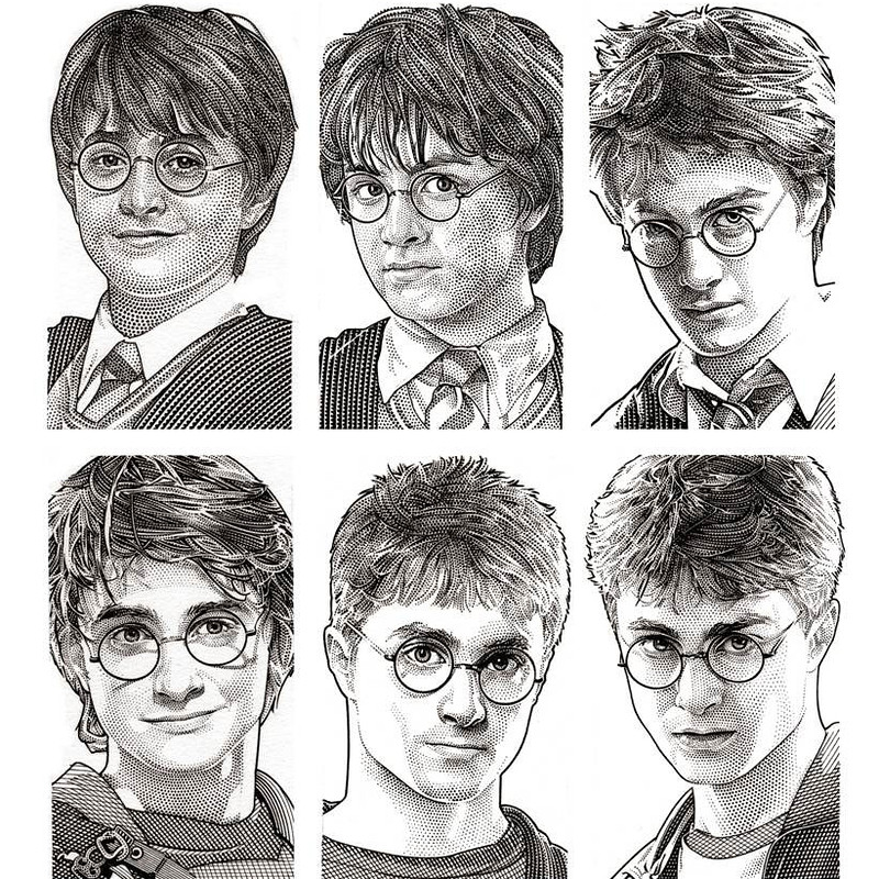 Drawn amd harry potter Hedcut One · Harry at