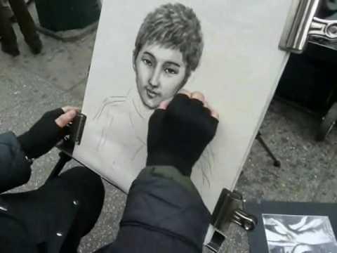 Drawn portrait street Speed Charcoal Portrait YouTube Charcoal