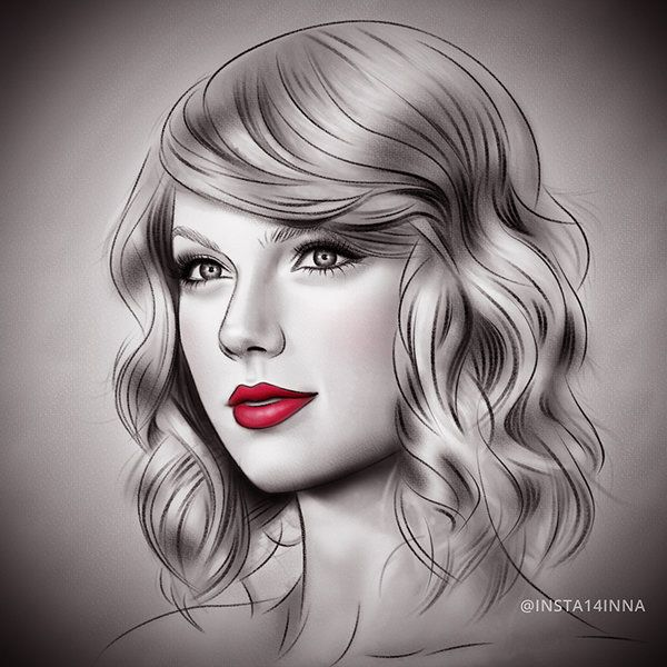 Drawn portrait taylor swift Art swift 126 Pinterest beautiful!