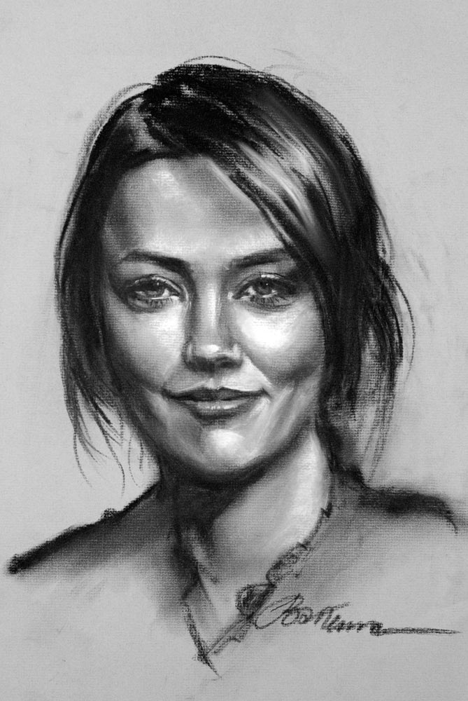 Drawn portrait tonal I bakumaart which the on