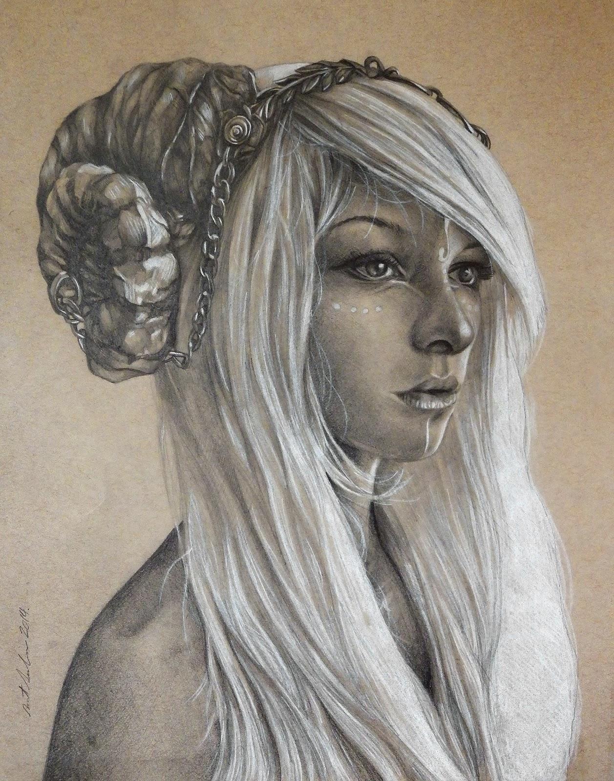Drawn portrait traditional Drawn Social themed (woman female