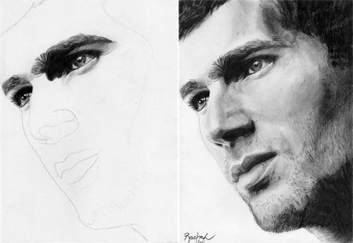 Drawn portrait traditional  and Traditional Clever on