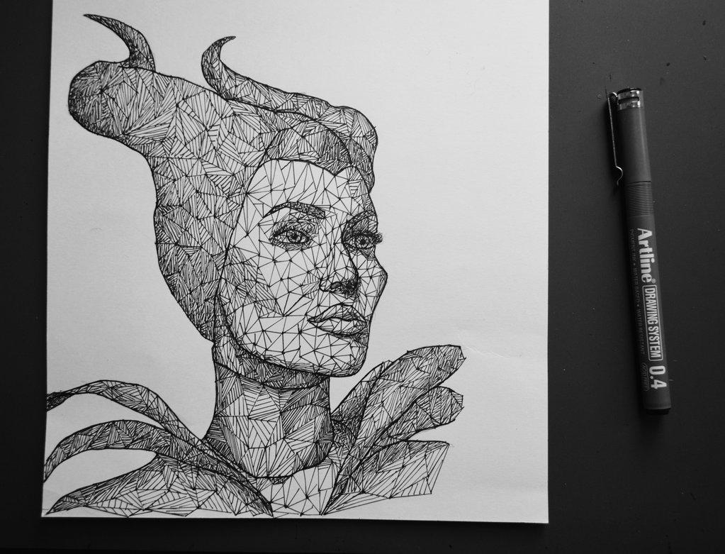 Drawn portrait triangulation Eliasmadan Maleficent on Triangulation DeviantArt