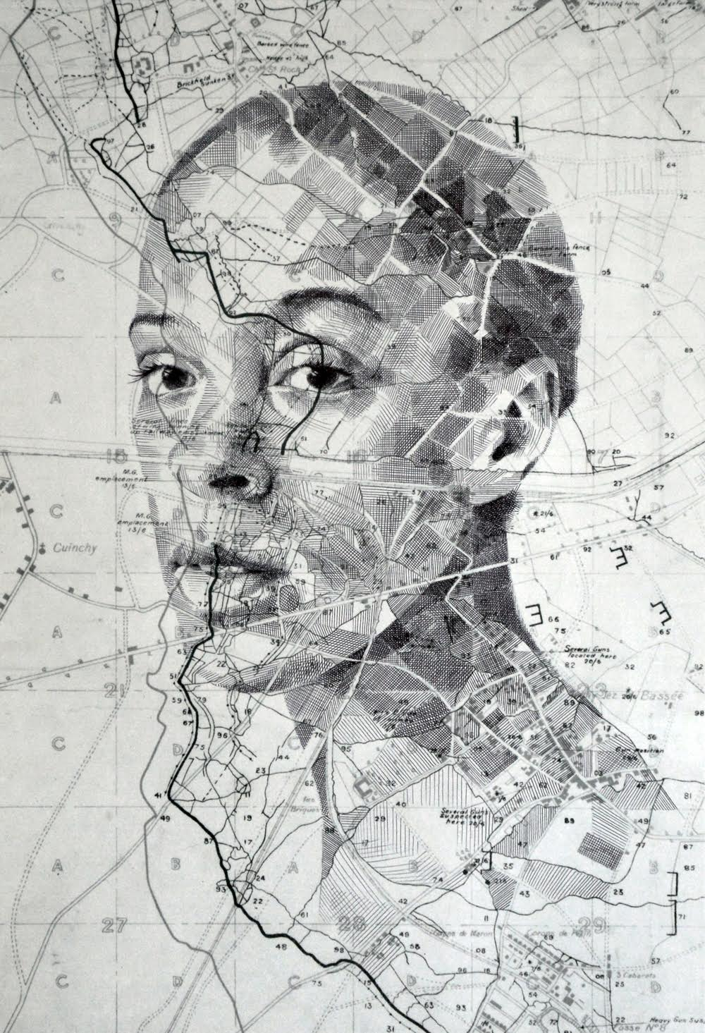 Drawn portrait vintage Maps New Fairburn and Colossal