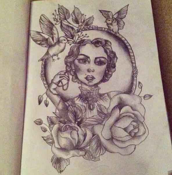 Drawn portrait vintage #drawing #woman tattoo #art ideas