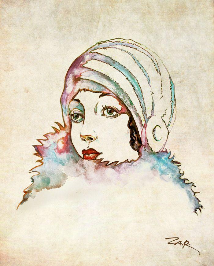 Drawn portrait vintage Faces/hairstyles art vintage best print