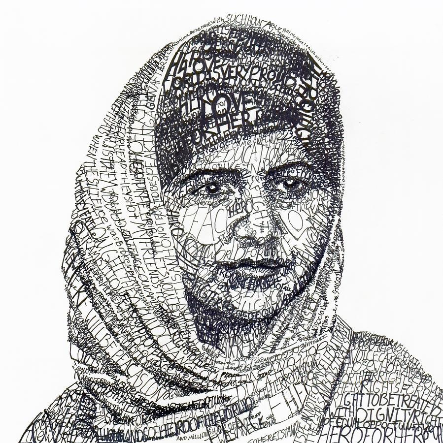 Drawn portrait word Malala yousafzai Fine More america