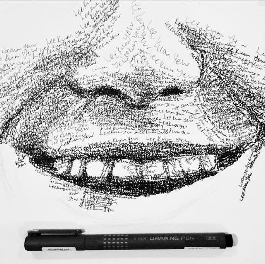 Drawn portrait word Portrait this artist  SHOCKED