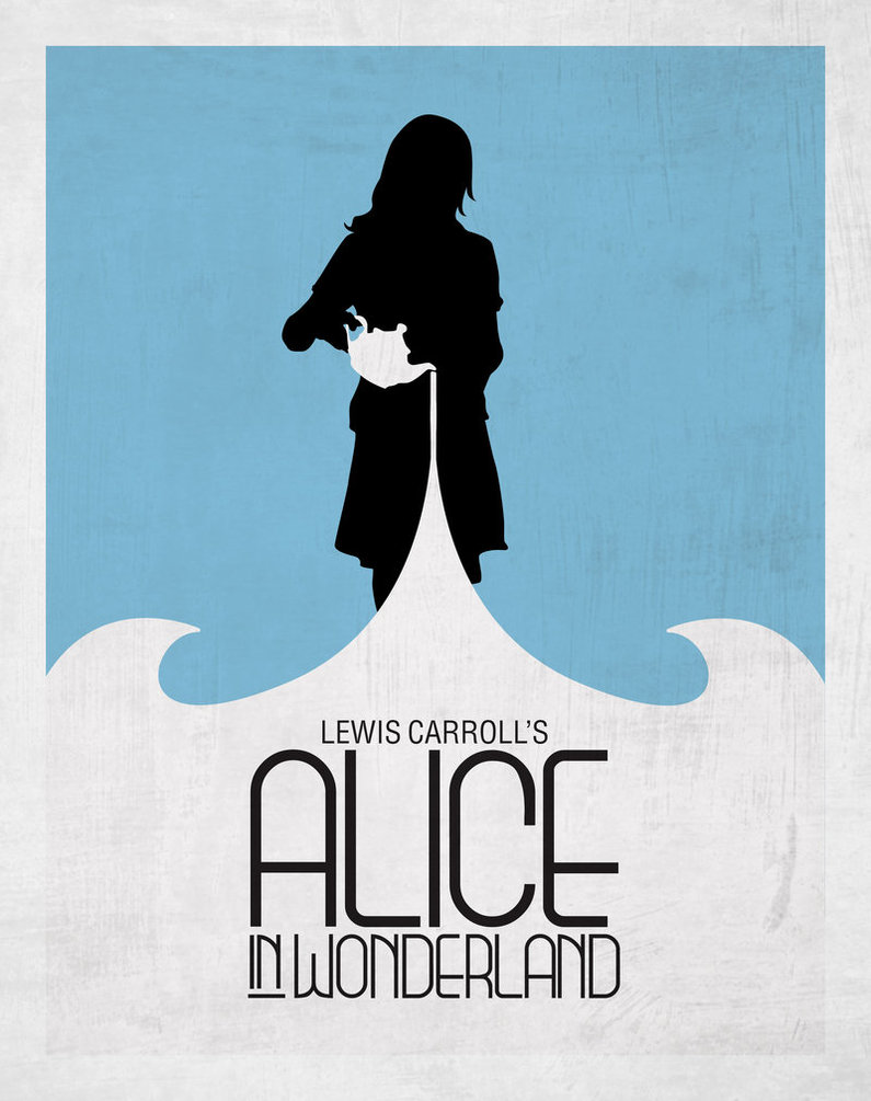 Drawn poster alice in wonderland Minimalist genotype style from Poster: