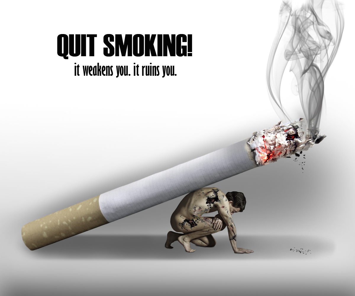 Drawn poster anti smoking Design CienelDotNet Final concept photoshop
