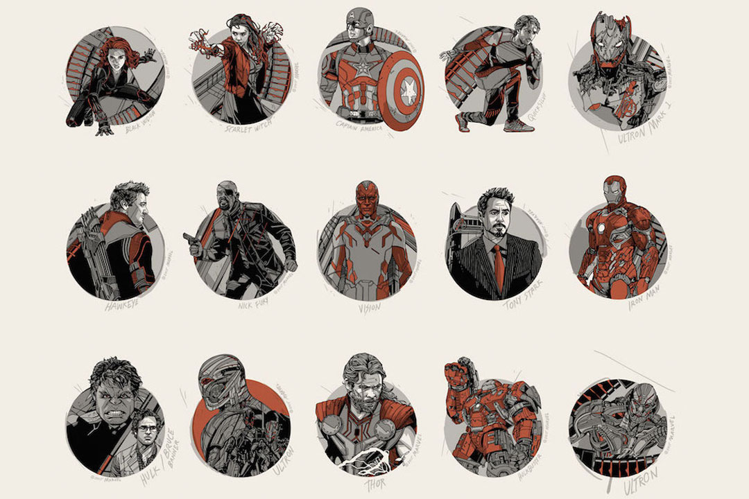 Drawn poster avenger Rare Ultron' and Age Cast