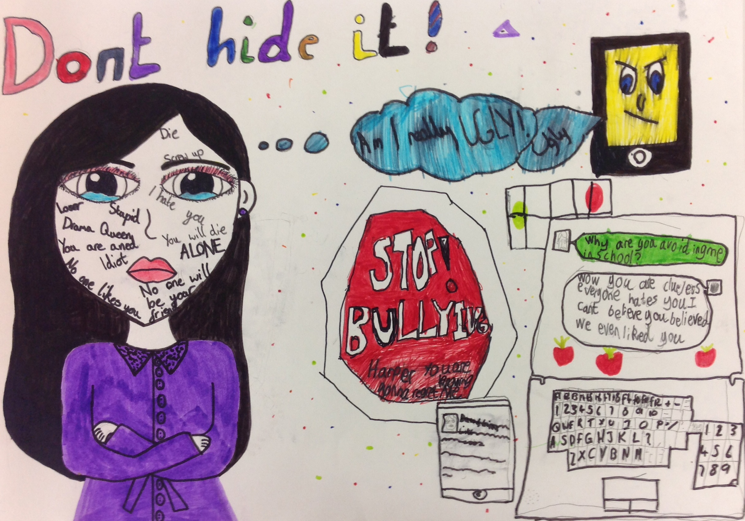 Drawn poster cyberbullying Who it One the was