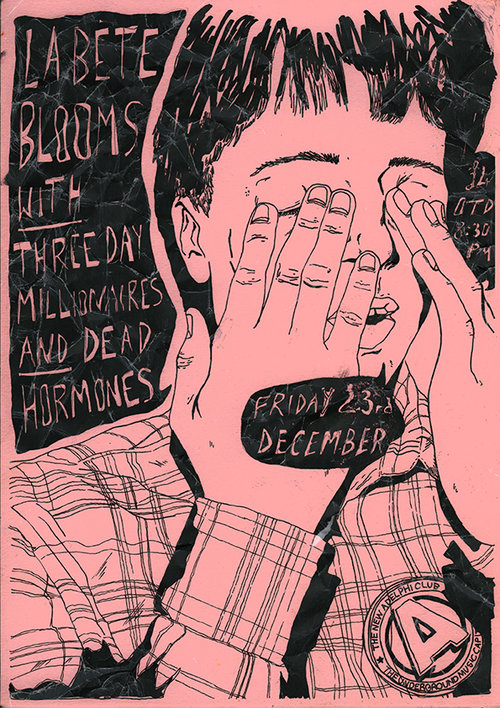 Drawn poster diy punk Harbord Blooms Hull Posters Gig