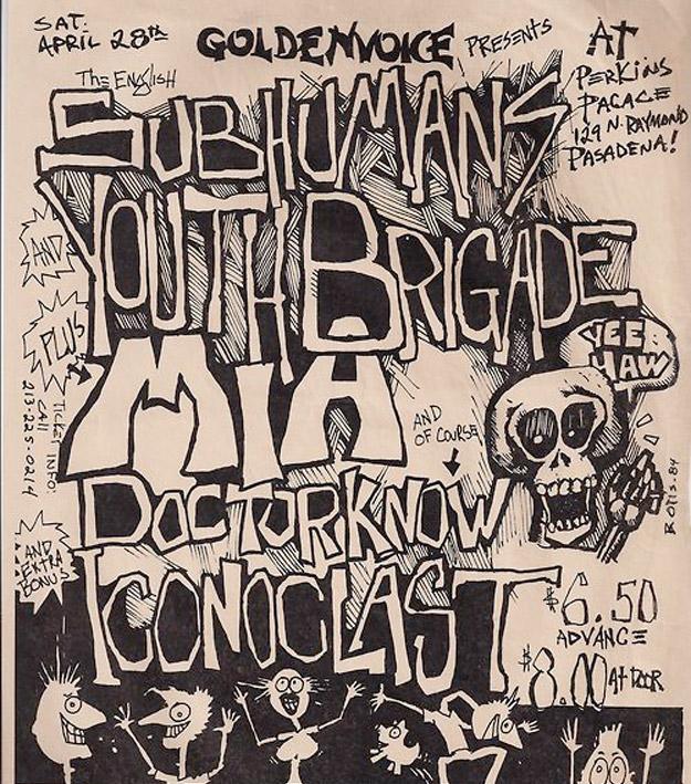 Drawn poster diy punk HARDCORE BRAINS The TOUR VINTAGE