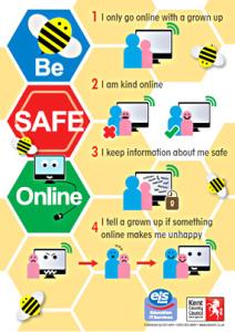 Drawn poster e safety Internet Wyburns E School KS1