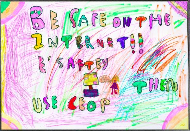 Drawn poster e safety Year E highlight a E