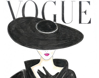 Drawn poster face Vogue drawn Etsy Hand 1950's