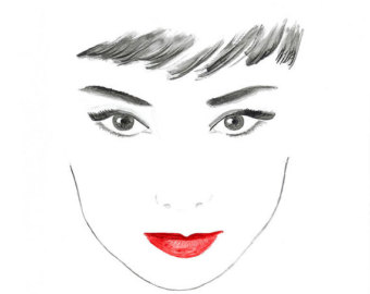 Drawn poster face White Lips Vogue Poster Lips