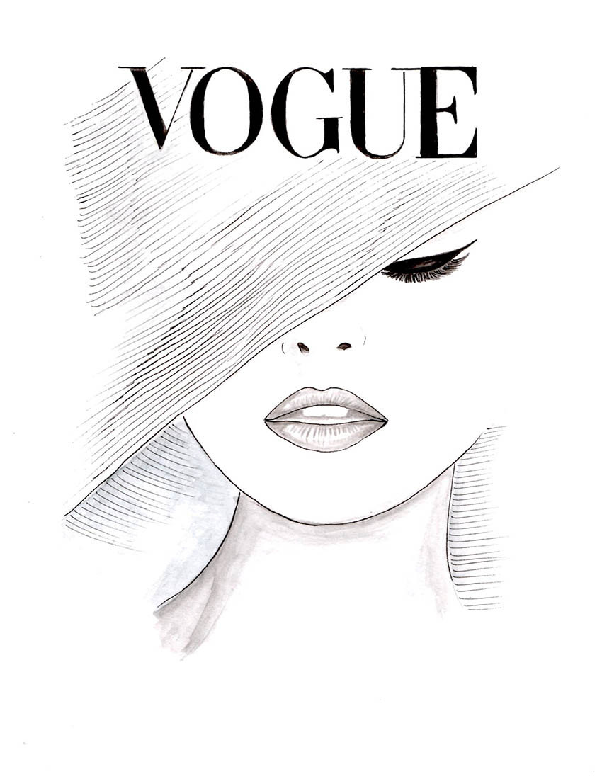 Drawn poster face Cover Vogue Girls Décor by