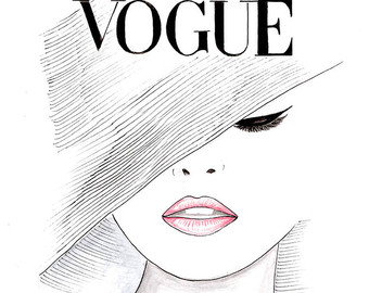 Drawn poster face Vogue Lips Vogue Poster Face