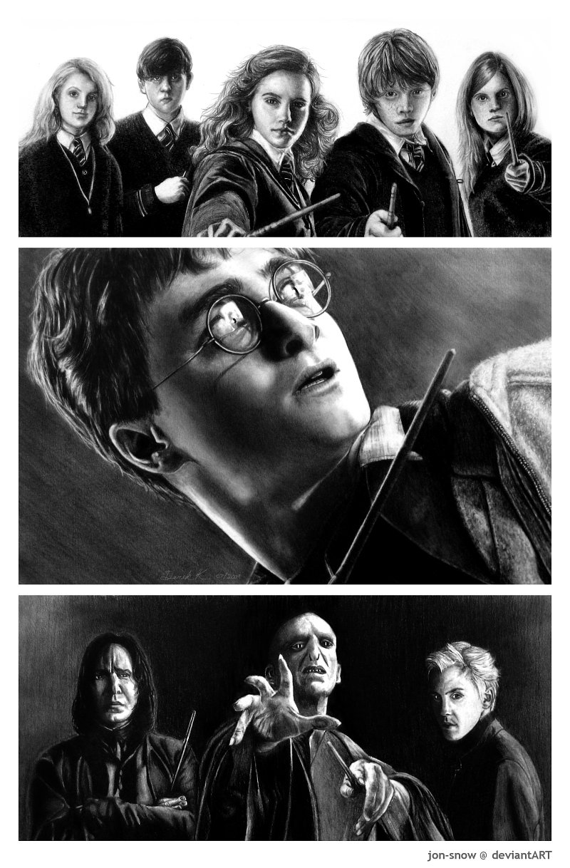 Drawn poster harry potter Harry Friends And by Foes