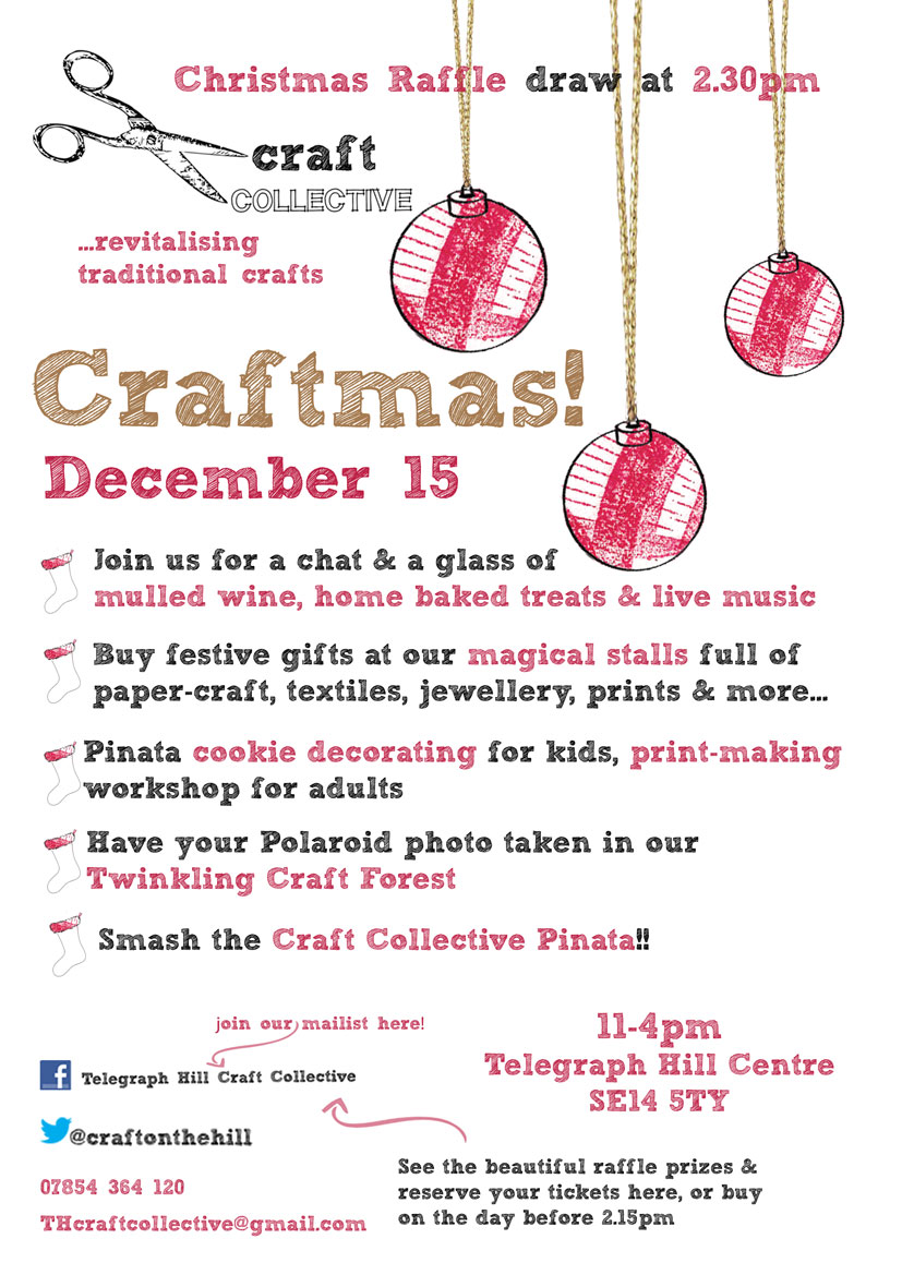 Drawn poster holiday craft fair December Collective Fair Telegraph goes