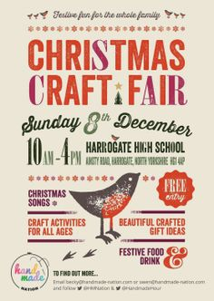 Drawn poster holiday craft fair And Craft Leaflet poster sale