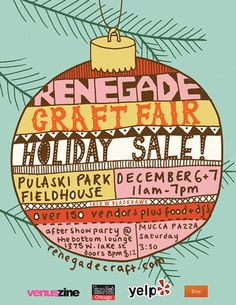 Drawn poster holiday craft fair Giant Craft Holiday 1+2/12 Chicago