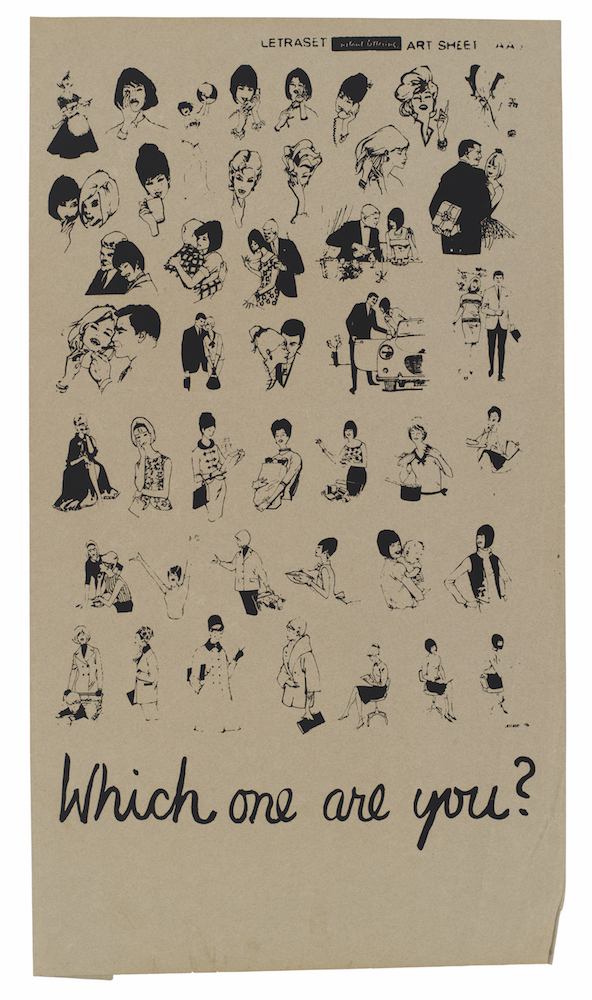 Drawn poster letraset Depicting various in See women