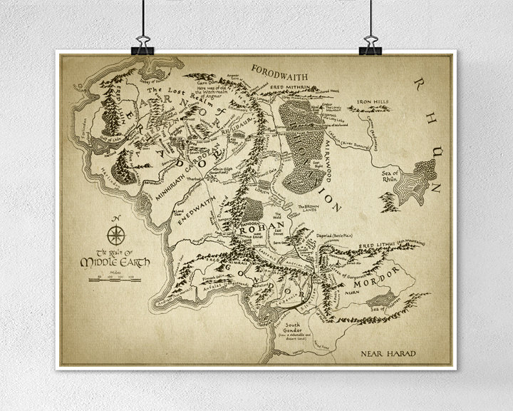 Drawn poster lord the ring Middle Rings Map Middle Lord