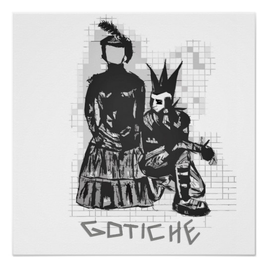 Drawn poster punk Rock Original Hand Gothic Punk
