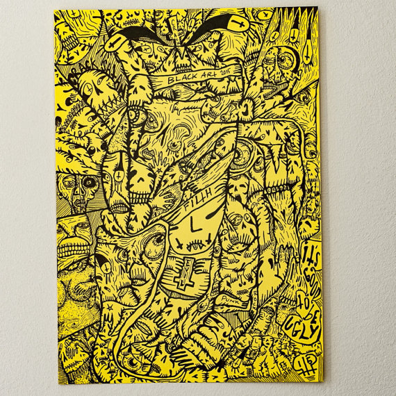 Drawn poster punk Hand Poster Ink Yellow Art