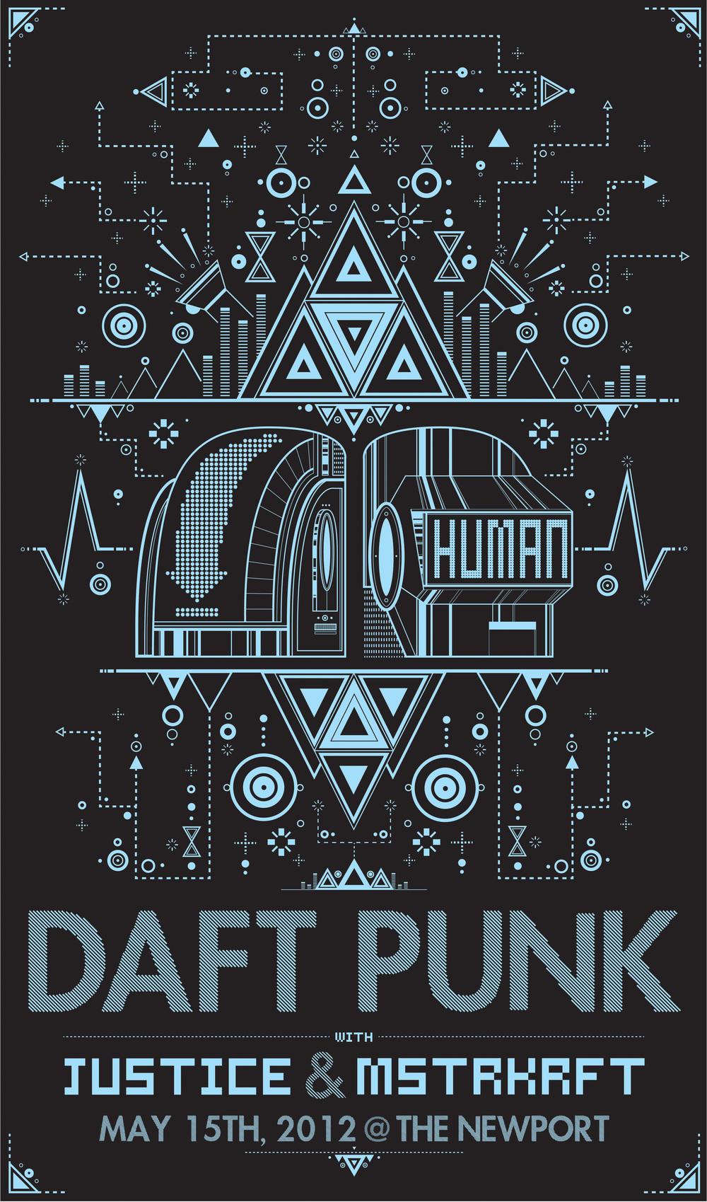 Drawn poster punk gig 2012 Daft Roll n' +