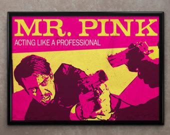 Drawn poster reservoir dog Pink Mr Steve Buscemi Framed